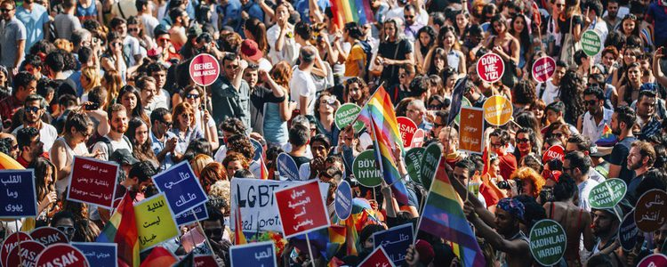 Protesta a favor del colectivo LGBT
