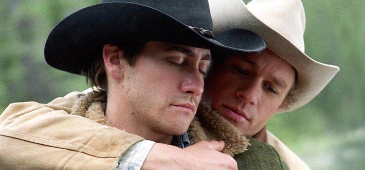 Los actores Heath Ledger y Jake Gyllenhaal actuando en la película