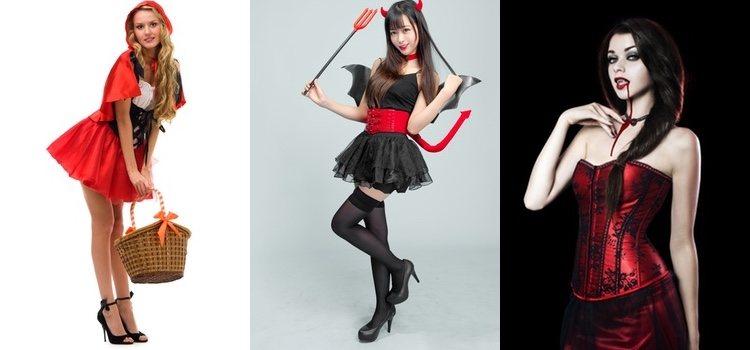 Siempre puedes dar un toque personal a tus disfraces, de izquierda a derecha: Caperucita Roja, diablesa y vampiresa