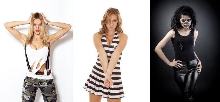 Además del vestuario, siempre podrás añadir complementos. De izquierda a derecha; militar, presidiario y punisher sexys