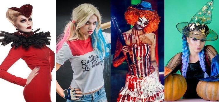 De izquierda a derecha; Reina de corazones, Harley Quinn, payasa diabólica y calabaza sexy